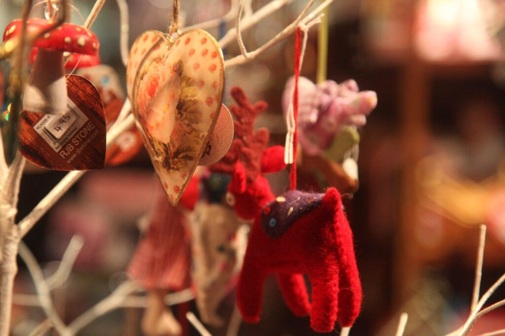 Hand crafted and beautiful christas tree decorations at Fowey Christmas Market