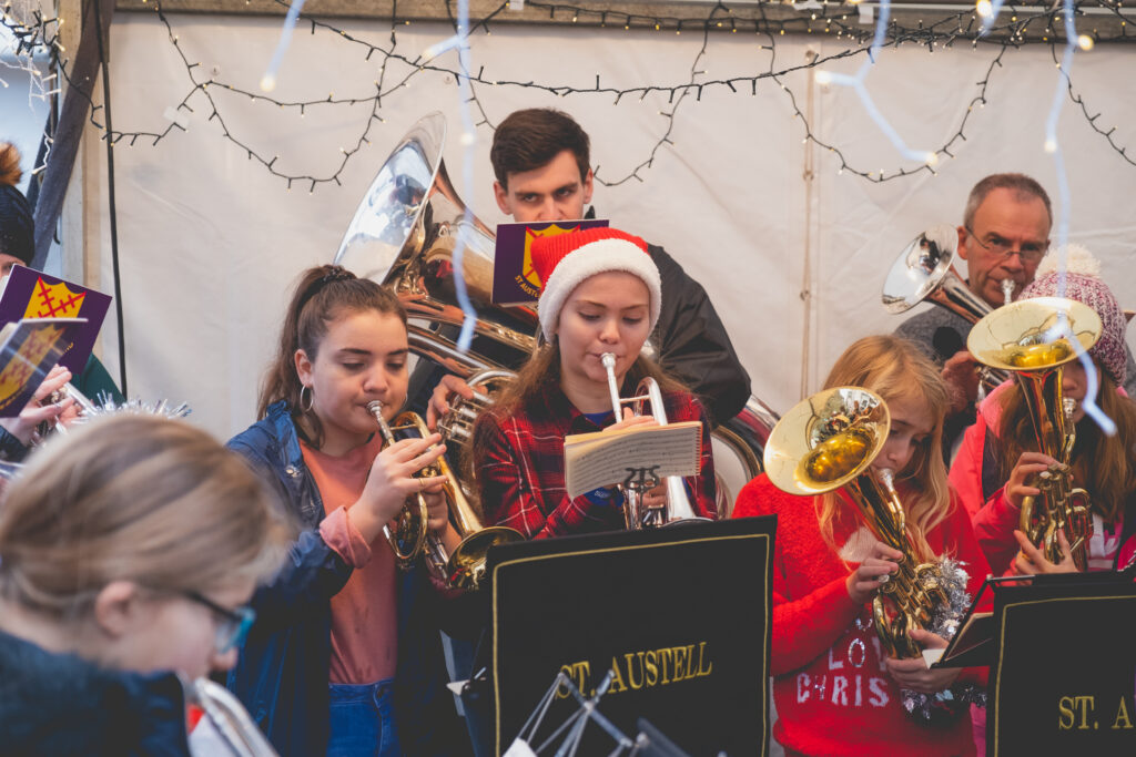 St Austell Christmas band performing at Fowey Christmas Market