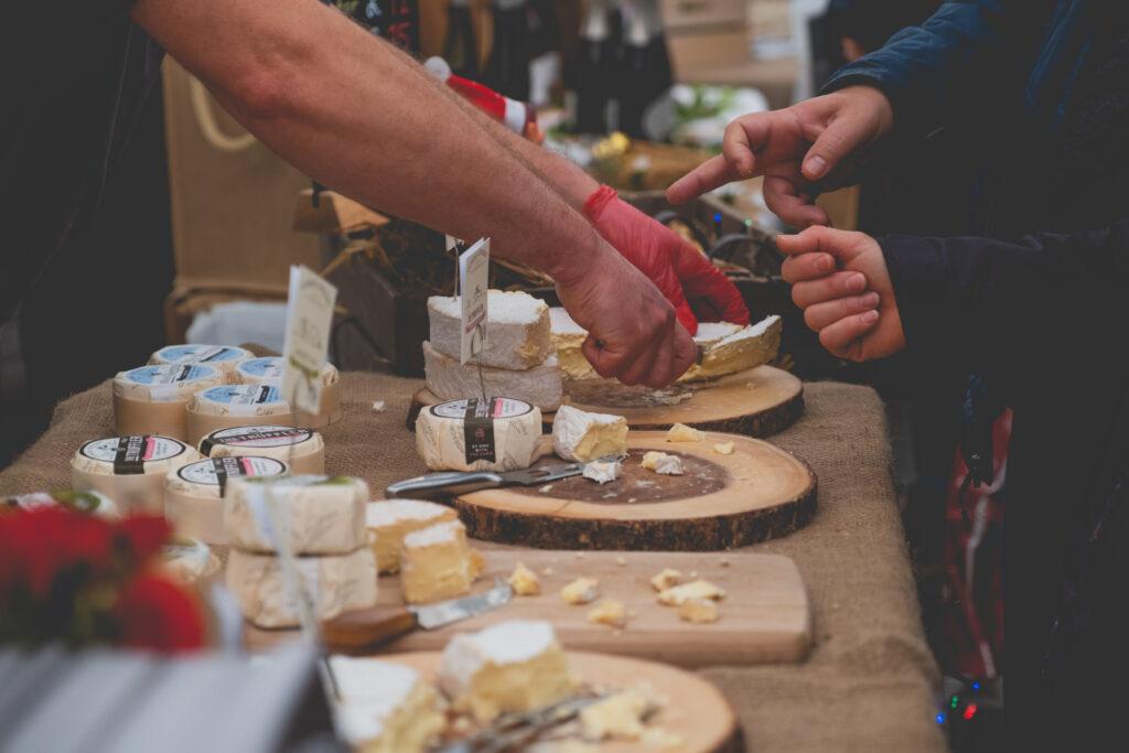 A selection of Cornish cheese at Fowey Christmas Market