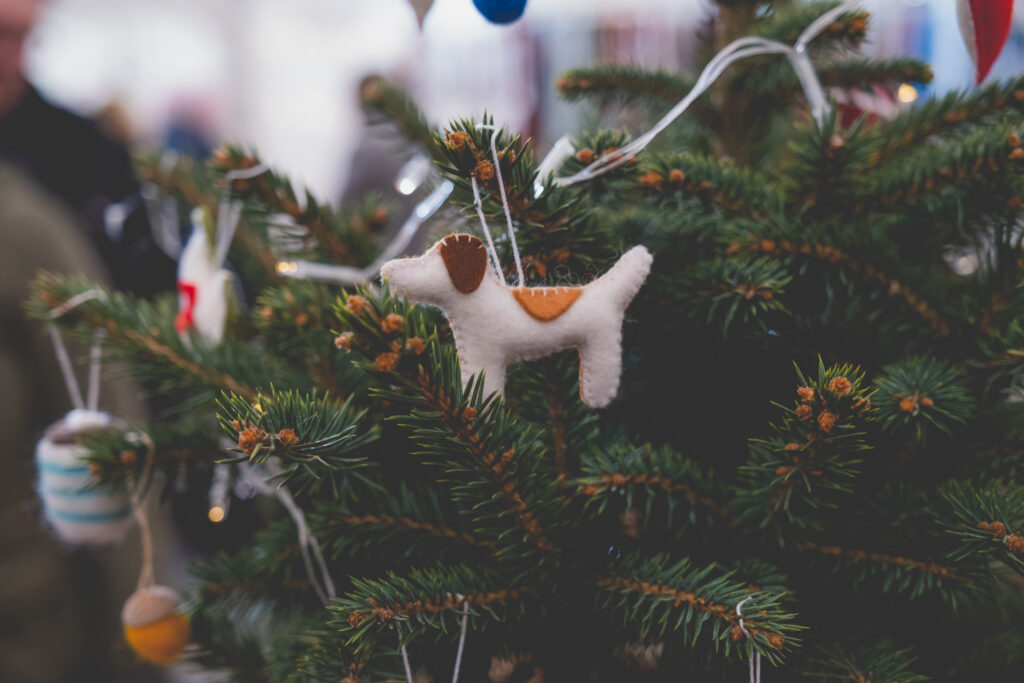 Cute dog Christmas tree ornament at Fowey Christmas Market