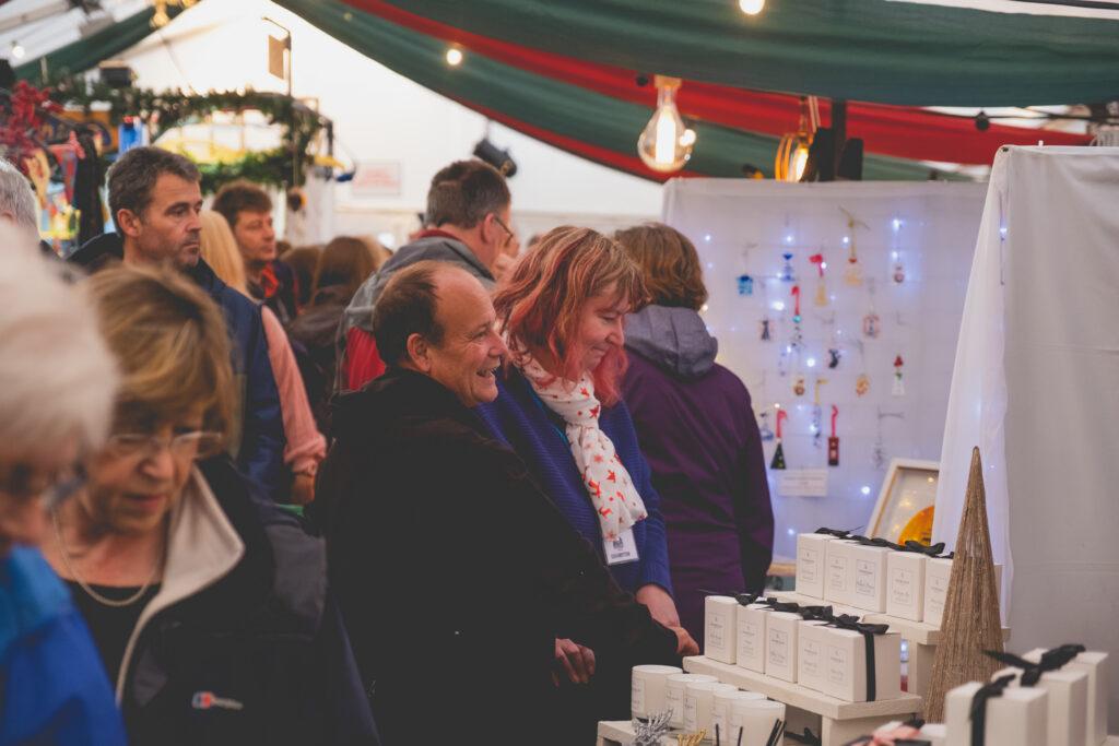 Browsing visitors at Fowey Christmas Market