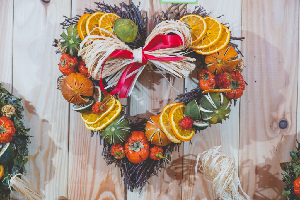 Unique and natural Christmas wreaths in the shape of a heart at Fowey Christmas Market