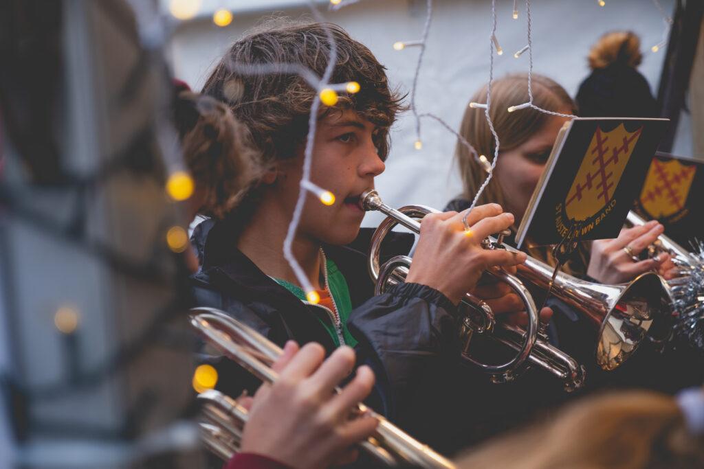 St Austell Christmas band at Fowey Christmas Market