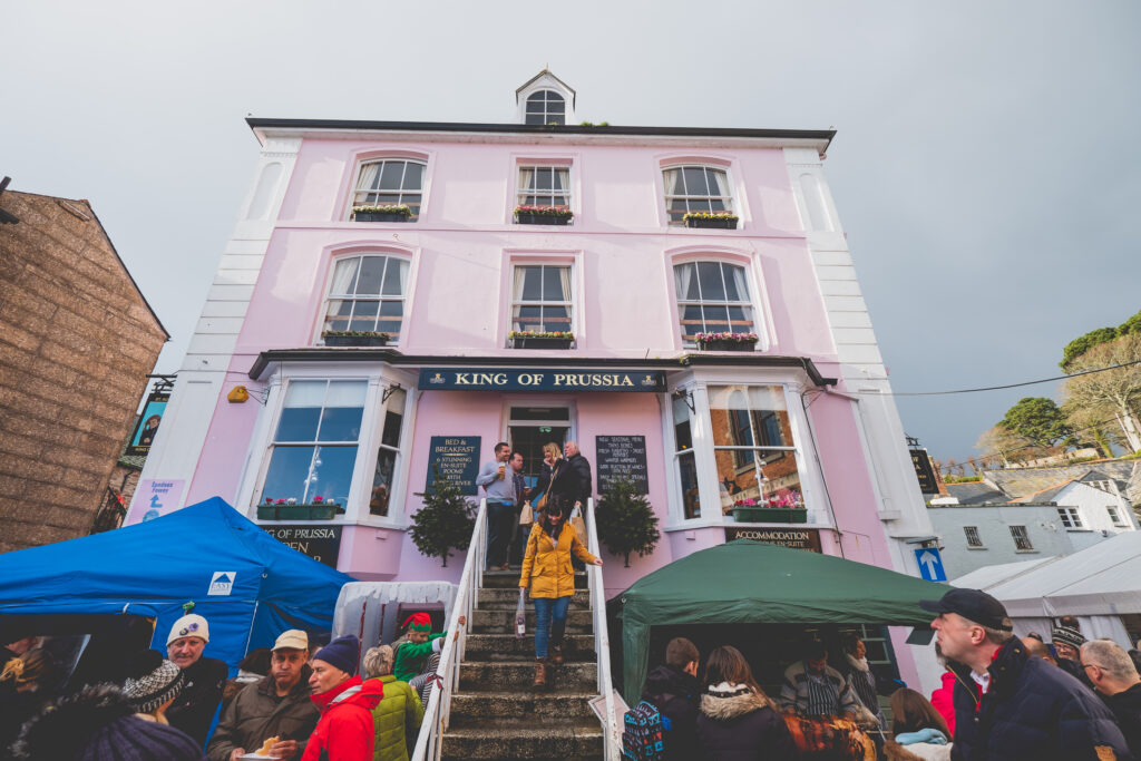 King of Prussia Pink Pub in Fowey at Fowey Christmas Market